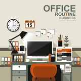 Office interior scene in flat design Royalty Free Stock Images