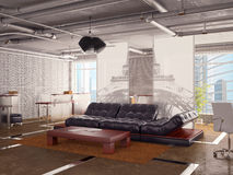 Office interior with sofa Royalty Free Stock Images