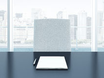 Office interior with table and blank sheets Stock Image