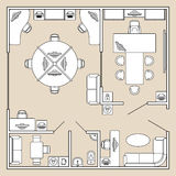 Office interior, top view architecture plan vector illustration Royalty Free Stock Image