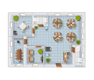Office Interior Top View Stock Images