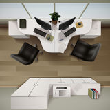 Office Interior Top View Illustration Royalty Free Stock Photos