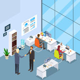 Office Interior, Two Businessman Hand Shake. Businesspeople Desk Working 3d Isometric Vector Illustration Royalty Free Stock Photos
