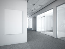 Office interior with white frame. 3d render Stock Image
