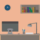 Office interior. Workplace, flat design Royalty Free Stock Image
