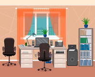 Office interior workspace with furniture and stationery. Workplace organization in home environment. Flat style vector illustration Royalty Free Stock Photography