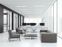 Office interior with workspaces. 3d rendering Stock Image