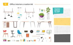Office interiors creation kit of different furniture, accessories, plants and seamless patterns for walls. Vector. Office interiors creation kit of different Stock Photography