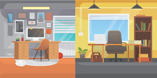 Office interiors horizontal banners. Bussines workplace with computer and table Stock Image