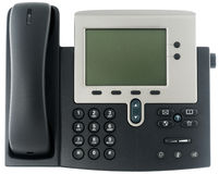 Office IP telephone. IP office telephone set with LCD display isolated on white Stock Photo