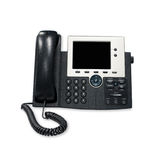 Office IP telephone set with big LCD isolated on the white backg Royalty Free Stock Photos