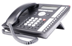 Office IP telephone. Set with LCD isolated on the white Stock Image