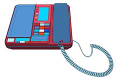 Office IP Telephone Set With LCD Vector Stock Images