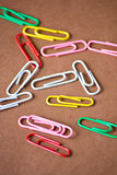 Office iridescent paper clips Royalty Free Stock Photography