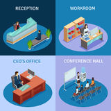 Office Isometric 4 Icons Square Composition Stock Photo