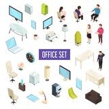Office Isometric Set. Office workplace personnel furniture computers tablets printer coffeemaker drawers clock lamps isometric icons collection isolated vector Stock Photo