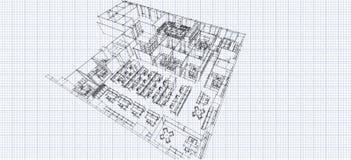 Office isometric sketch line Stock Photo
