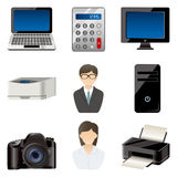 Office item icons set Royalty Free Stock Photography