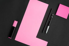 Office items on black background Stock Photography