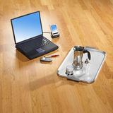 Office items on bright parquet royalty free stock image
