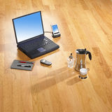 Office items on bright parquet Royalty Free Stock Photos
