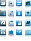 Office items icon. Collection on blue squares