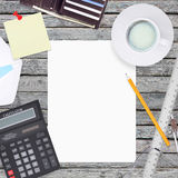 Office items including white paper Stock Photos