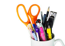 Office items isolated on a white background. Office,items, isolated ,white, background Stock Photo