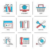 Office items line icons set Stock Photos