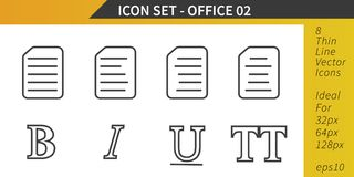 Office Items, Thin Line Vector Icon Set. Thin Line Vector Icon Set with office items, text formatting elements Stock Images