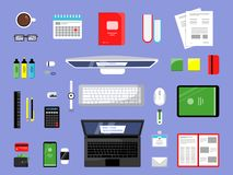 Office items top view. Business and finance tools manager workspace with paper books laptop pc vector elements isolated vector illustration