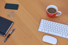 Office items. Top view of items on office desk royalty free stock photos