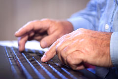 Office job. Typing on a Computer Keyboard. Stock Photography