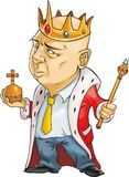 Office king. Vector illustration of an office clerk, dressed as King Royalty Free Stock Photos