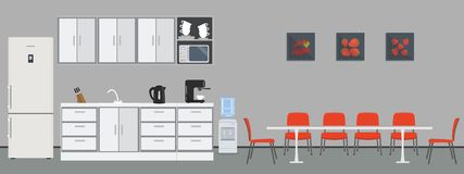 Office kitchen. Dining room in office. There are kitchen cabinets, a fridge, a table, chairs, a microwave, a kettle and coffee machine in the image. There are stock illustration