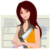 Office lady. Holding the office of Secretary of the file Royalty Free Stock Photo