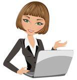 Office lady. Illustration of a smiling beautiful business woman with notebook and isolated on white background. Eps file is available Royalty Free Stock Images