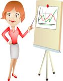 Office lady. With pointer at the board Stock Image
