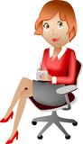 Office lady. Sitting office lady with a note Royalty Free Stock Image