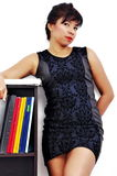 Office lady in black dress Royalty Free Stock Image