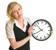 Office lady with a clock Royalty Free Stock Photo