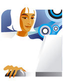 Office lady at the laptop. Illustration of the office lady at the laptop Royalty Free Stock Photo