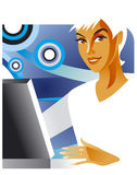 Office lady at the laptop. Illustration of the office lady at the laptop Stock Photo