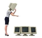Office Lady Making A Superficial Change Illustration Royalty Free Stock Photos