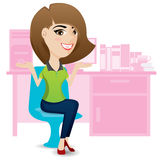 Office lady ralax on chair. Illustration of office lady ralax on chair Stock Photos