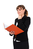 Office lady reading notebook Royalty Free Stock Photo