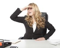 Office Lady Seeking for Something. Office Lady in Black Blazer Seeking for Something, Isolated on White Stock Photo