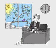 Office lady in spring Royalty Free Stock Photo
