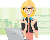 Office lady is using a thumbdrive. Illustration of office lady is using a thumbdrive stock illustration