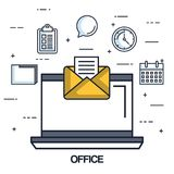 Office laptop email message note work. Vector illustration Stock Images